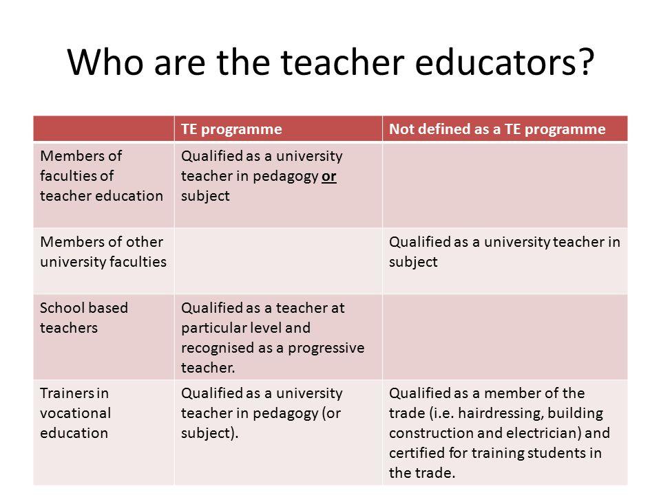 Who are the teacher educators