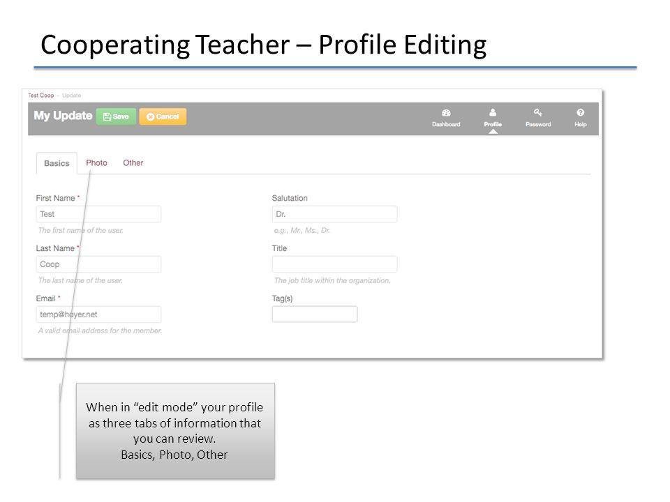 Cooperating Teacher – Profile Editing