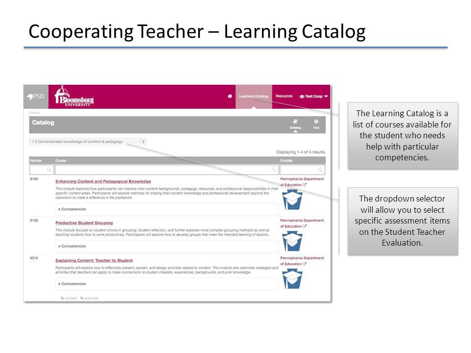 Cooperating Teacher – Learning Catalog