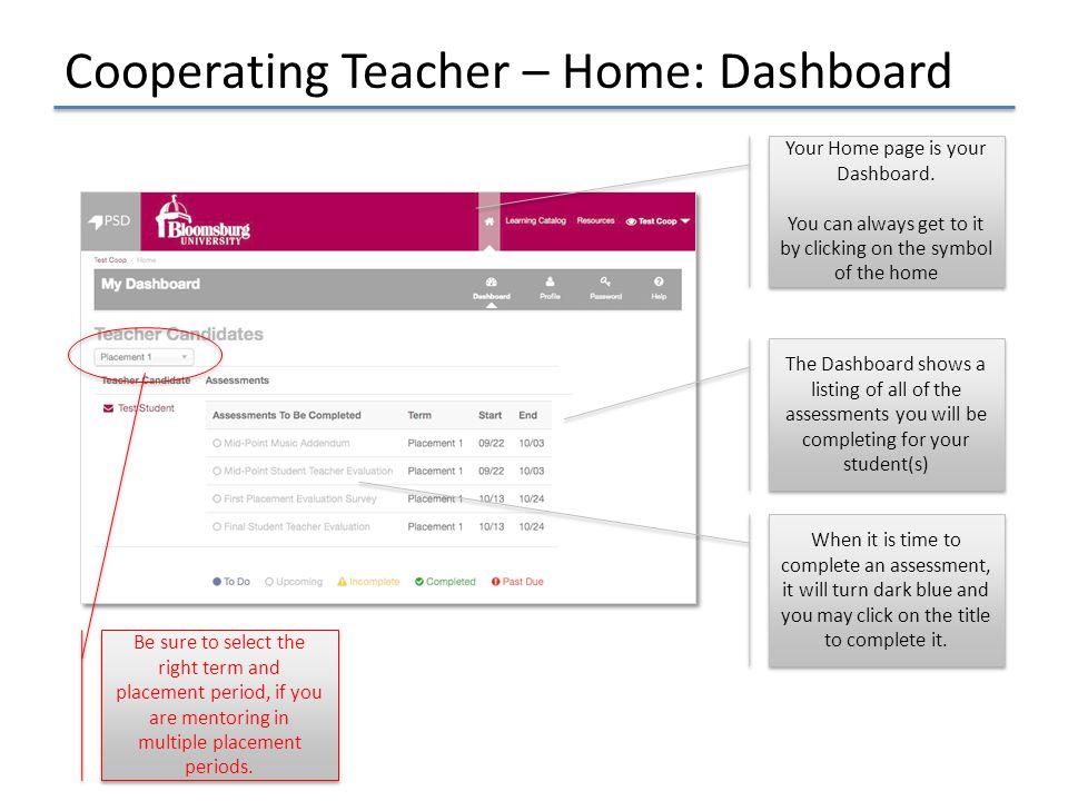 Cooperating Teacher – Home: Dashboard