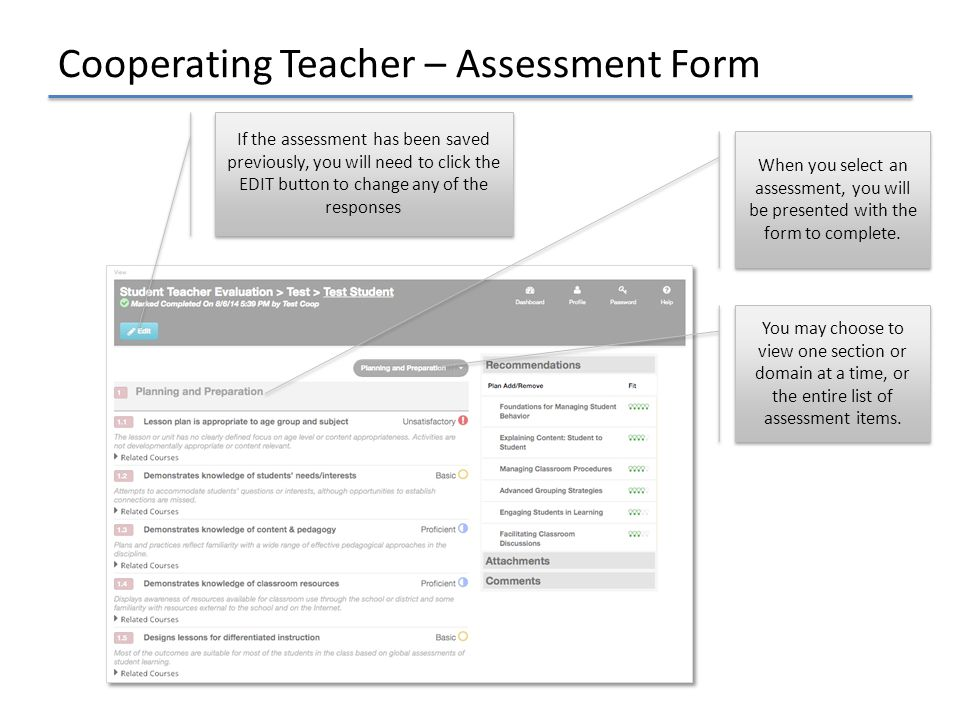 Cooperating Teacher – Assessment Form