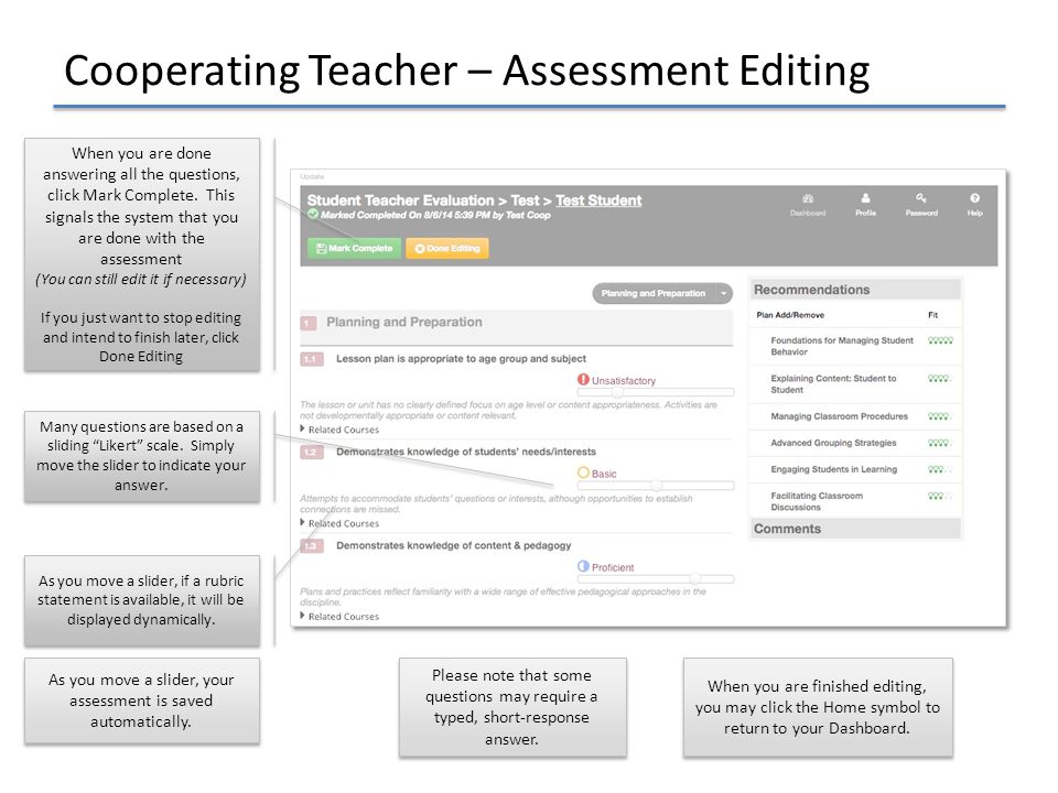 Cooperating Teacher – Assessment Editing