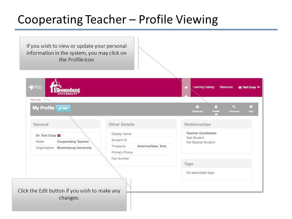 Cooperating Teacher – Profile Viewing