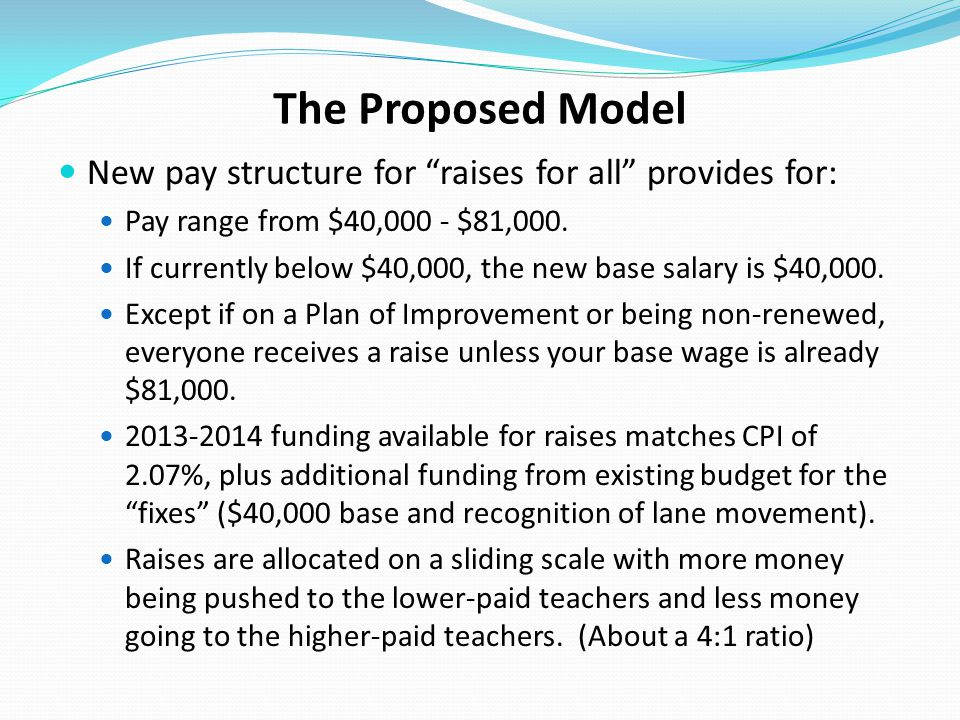 The Proposed Model New pay structure for raises for all provides for: Pay range from $40,000 - $81,000.