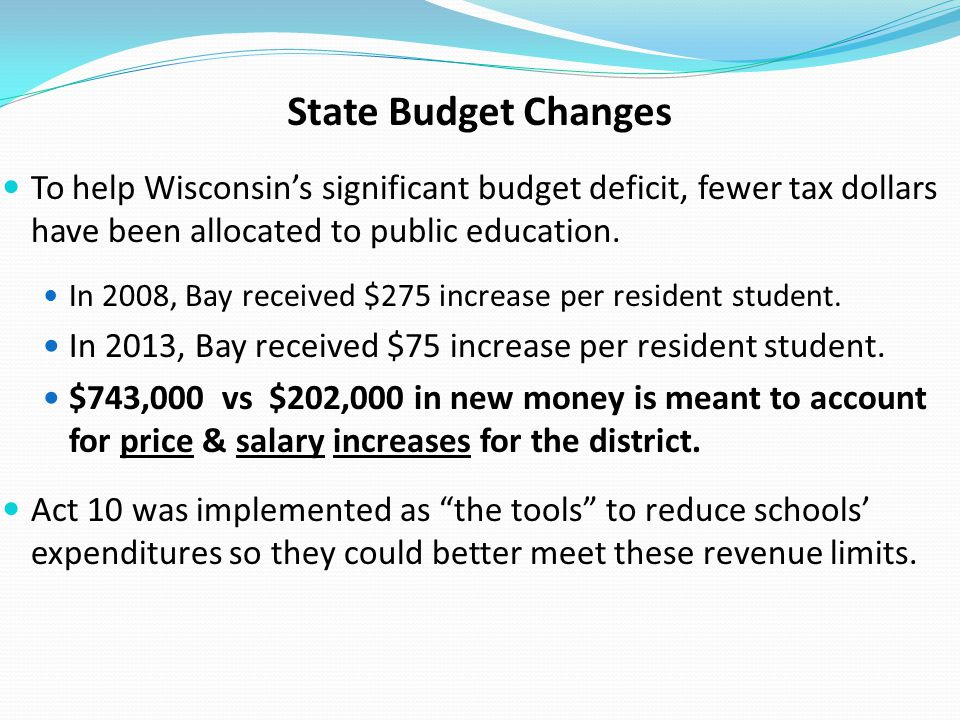 State Budget Changes To help Wisconsin's significant budget deficit, fewer tax dollars have been allocated to public education.