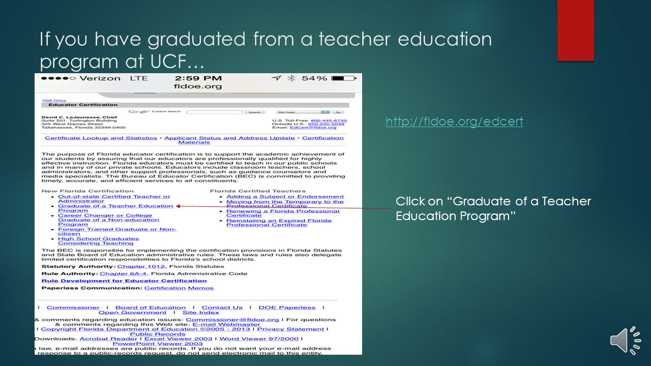 Obtaining your florida teaching certificate ppt video online download if you have graduated from a teacher education program at ucf 1betcityfo Gallery