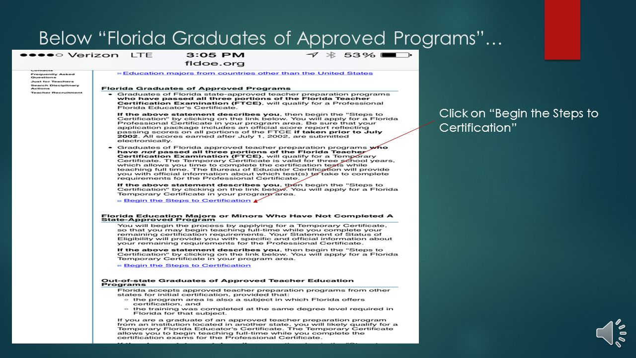 Obtaining your florida teaching certificate ppt video online below florida graduates of approved programs xflitez Images