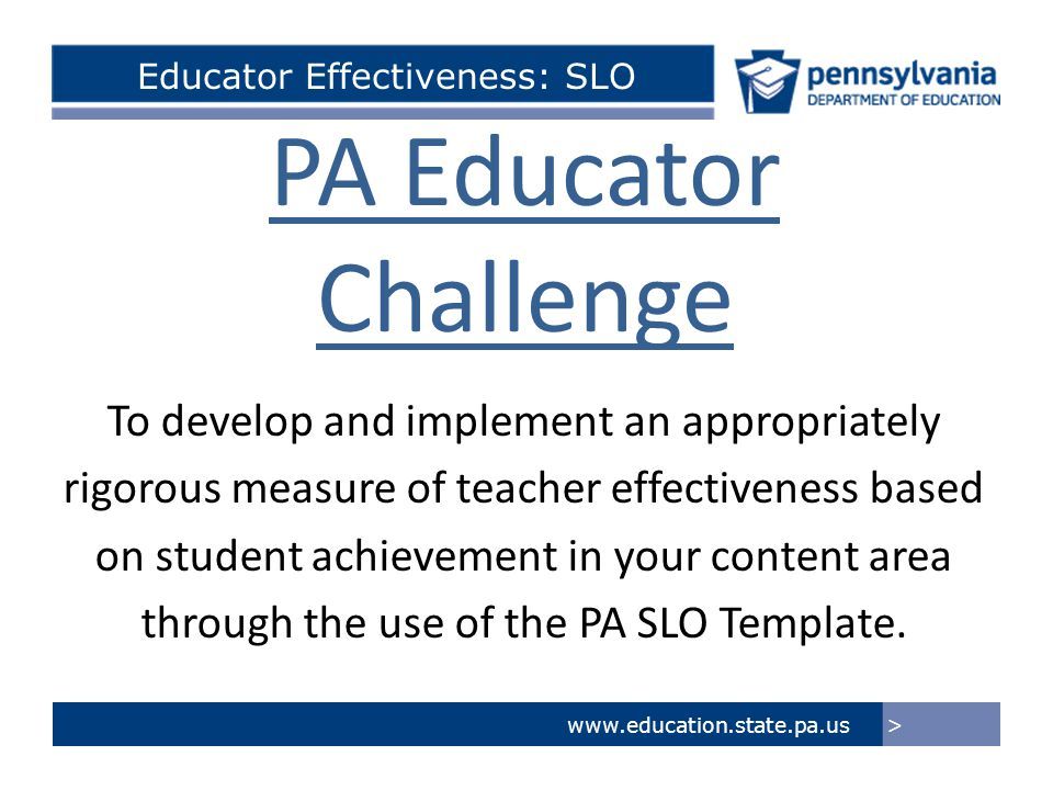 Educator Effectiveness: SLO