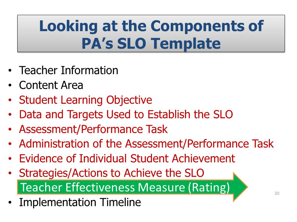 Looking at the Components of PA's SLO Template