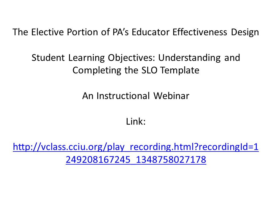 The Elective Portion of PA's Educator Effectiveness Design