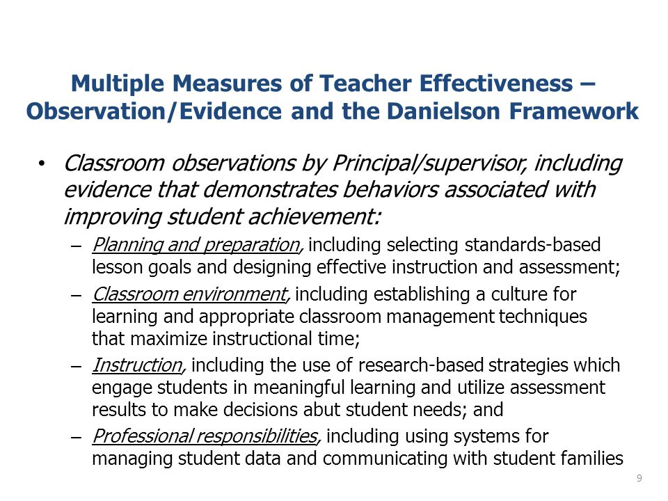 Multiple Measures of Teacher Effectiveness – Observation/Evidence and the Danielson Framework