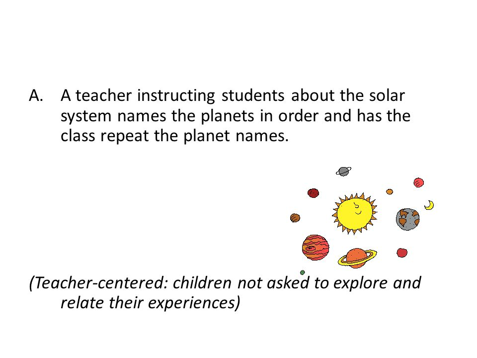 A teacher instructing students about the solar system names the planets in order and has the class repeat the planet names.