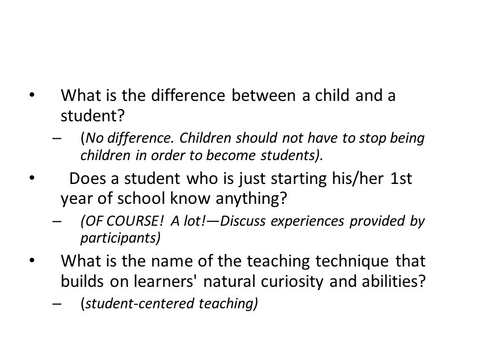 What is the difference between a child and a student