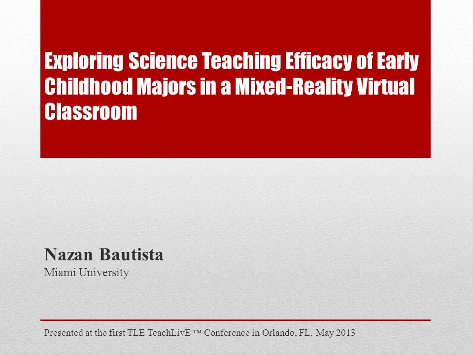 Exploring Science Teaching Efficacy of Early Childhood Majors in a Mixed-Reality Virtual Classroom