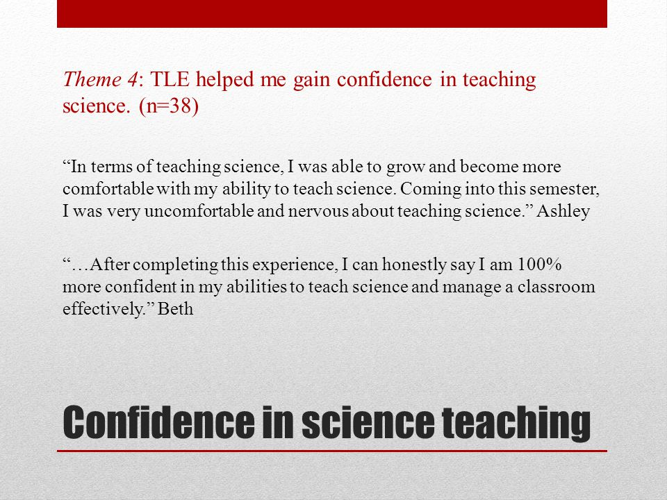Confidence in science teaching