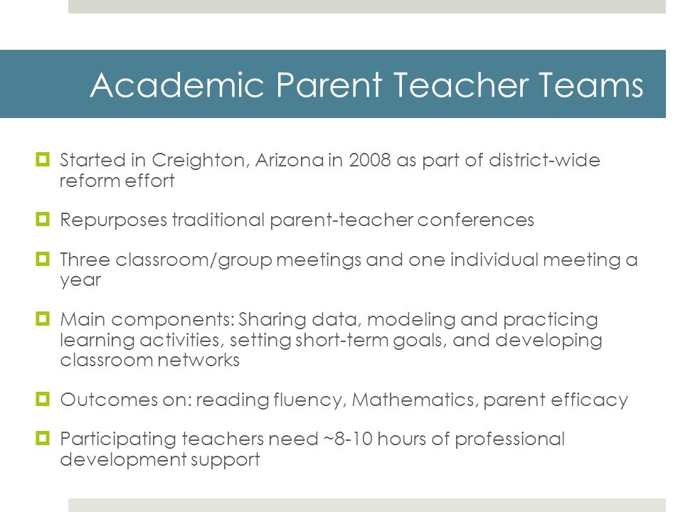 Academic Parent Teacher Teams