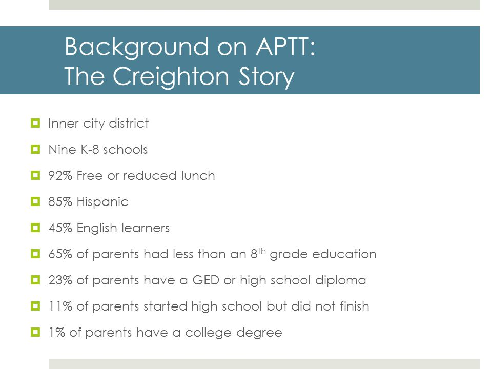 Background on APTT: The Creighton Story