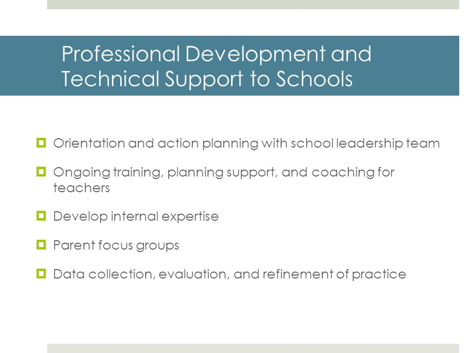 Professional Development and Technical Support to Schools
