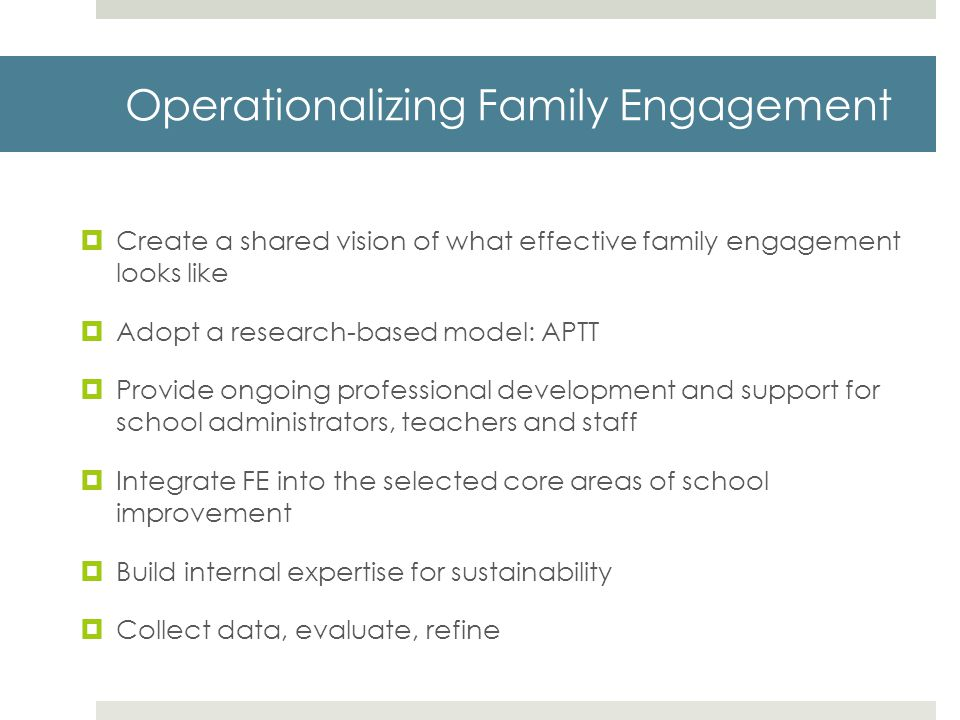 Operationalizing Family Engagement