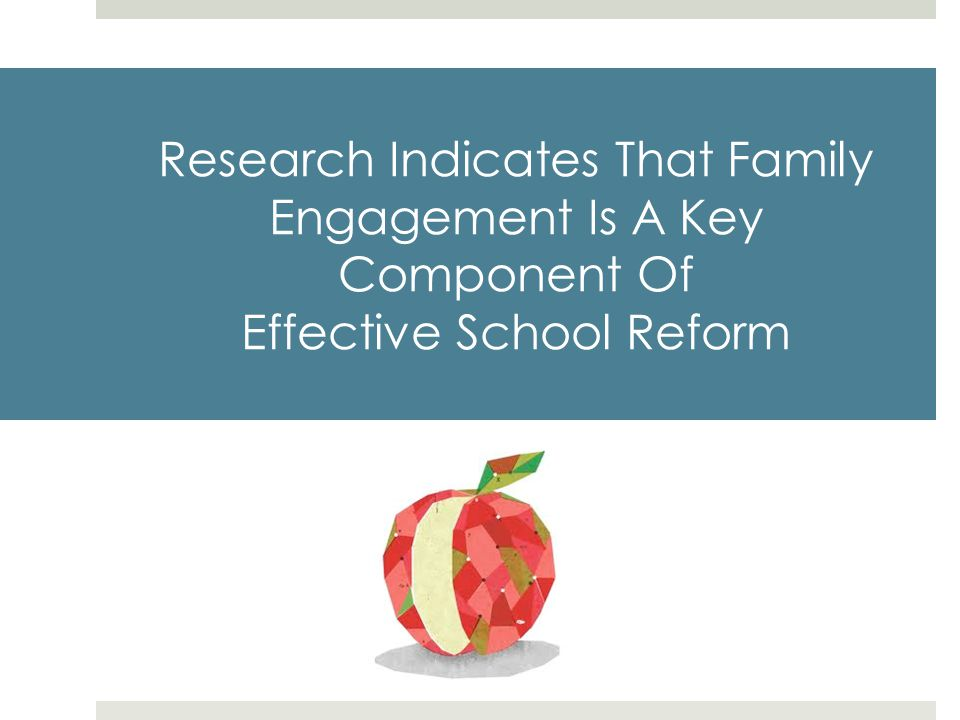 Research Indicates That Family Engagement Is A Key Component Of Effective School Reform