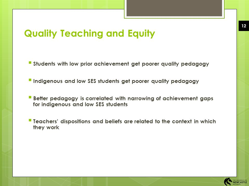 Quality Teaching and Equity