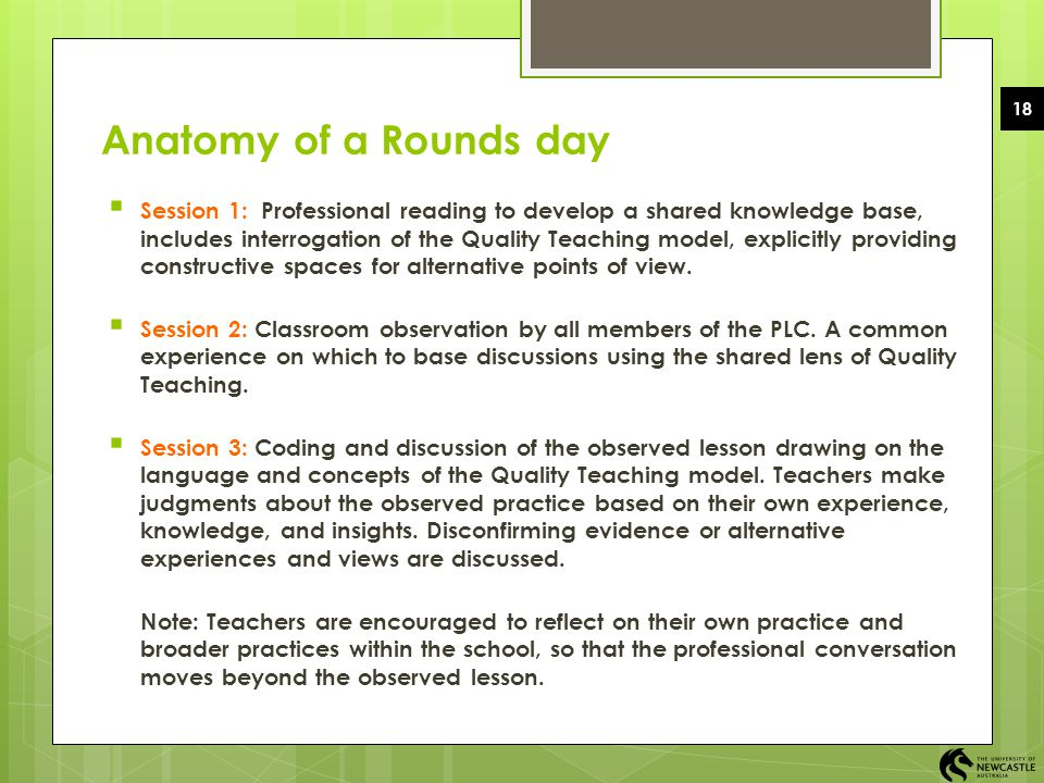 EDUC1006 2008 Semester 2 18. Anatomy of a Rounds day.