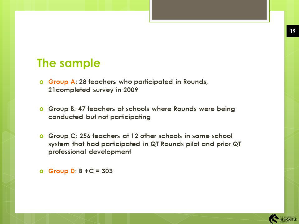 The sample Group A: 28 teachers who participated in Rounds, 21completed survey in 2009.