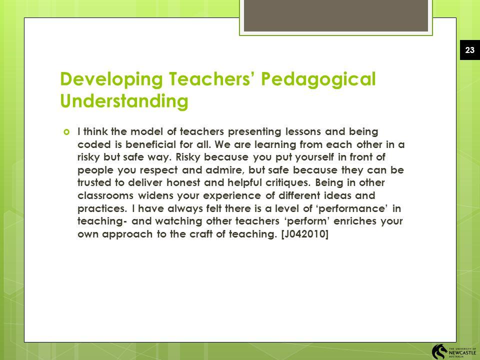 Developing Teachers' Pedagogical Understanding