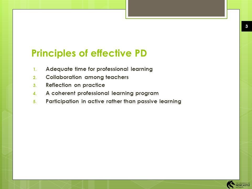 Principles of effective PD