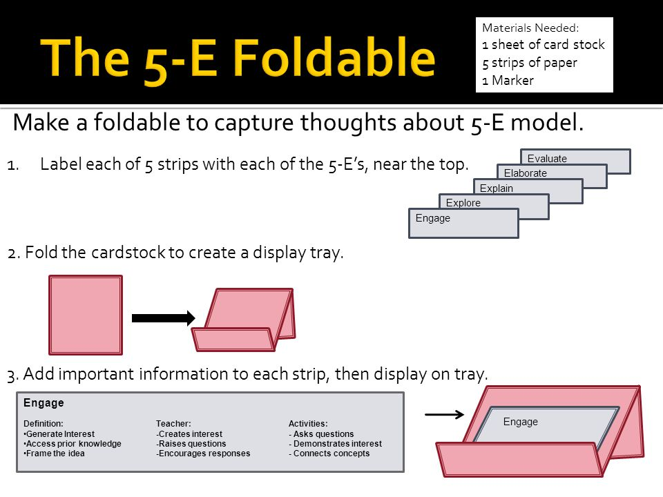 The 5-E Foldable Make a foldable to capture thoughts about 5-E model.