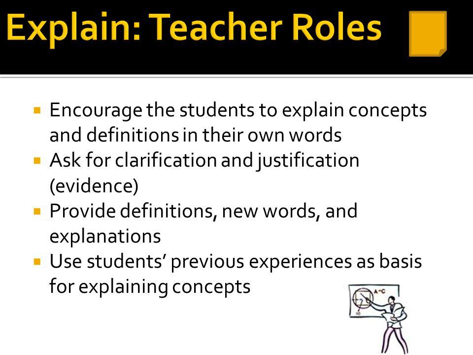 Explain: Teacher Roles