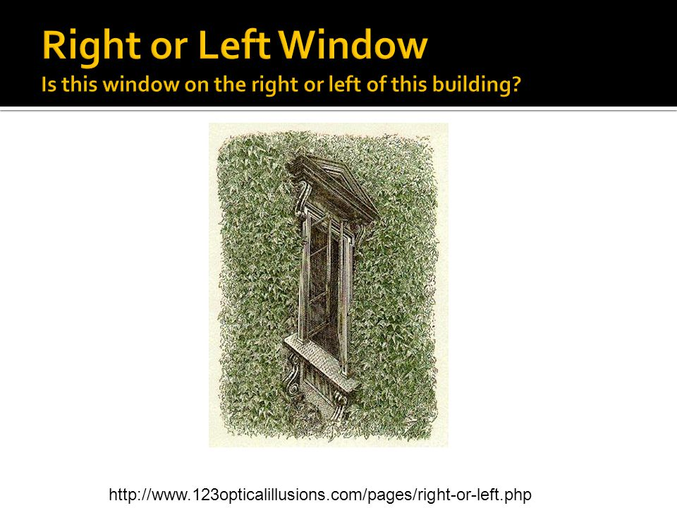 Right or Left Window Is this window on the right or left of this building.