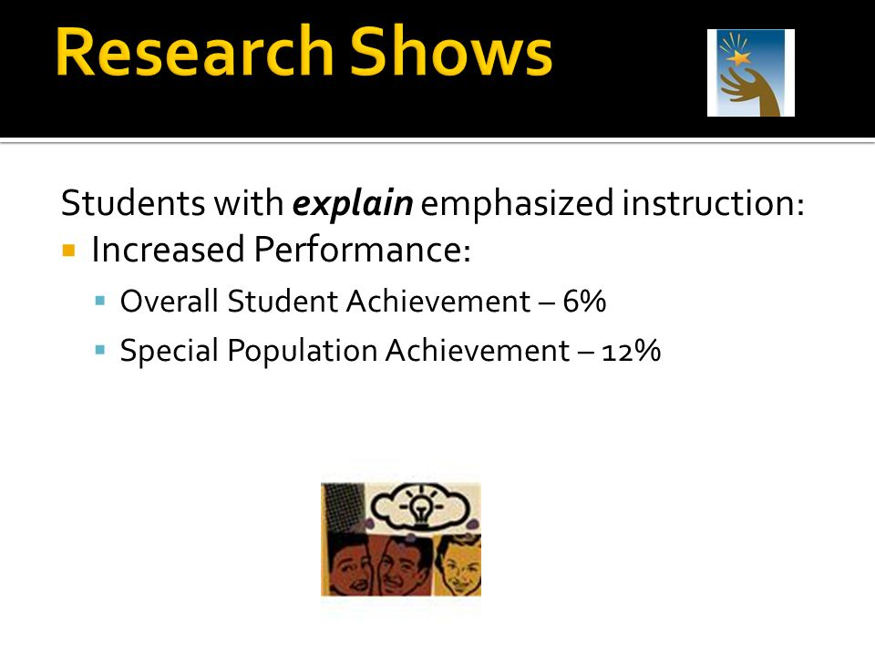Research Shows Students with explain emphasized instruction:
