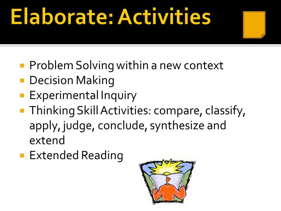 Elaborate: Activities