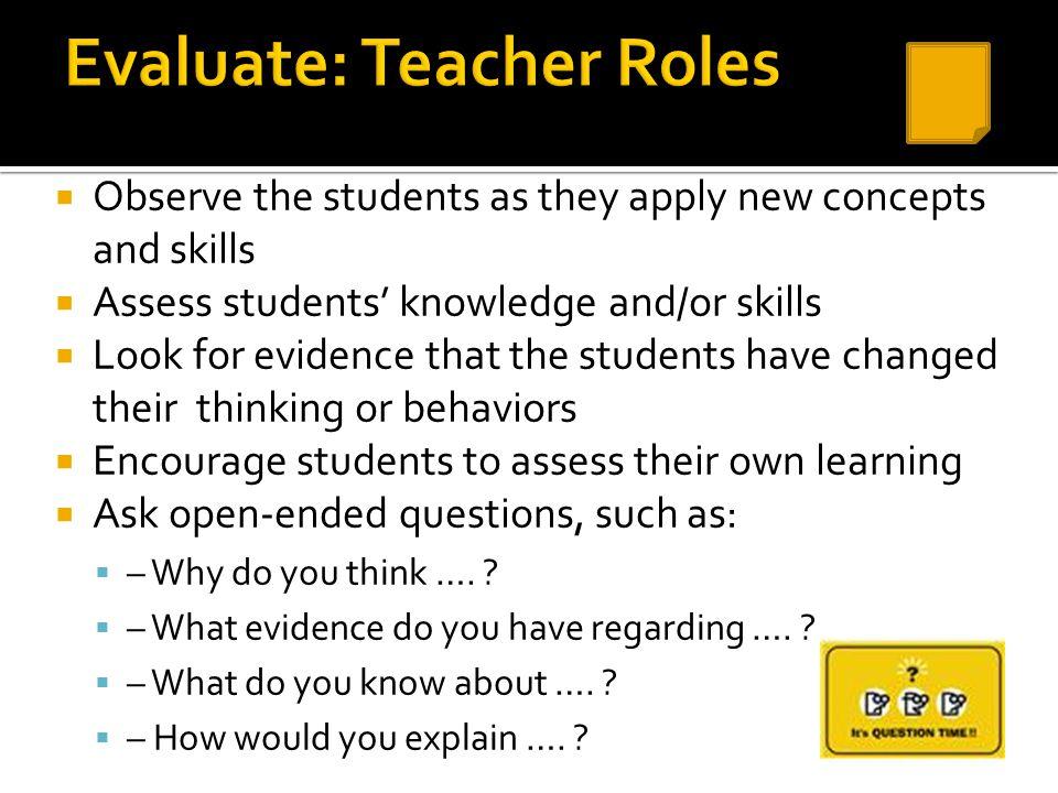 Evaluate: Teacher Roles
