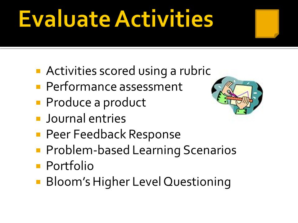 Evaluate Activities Activities scored using a rubric