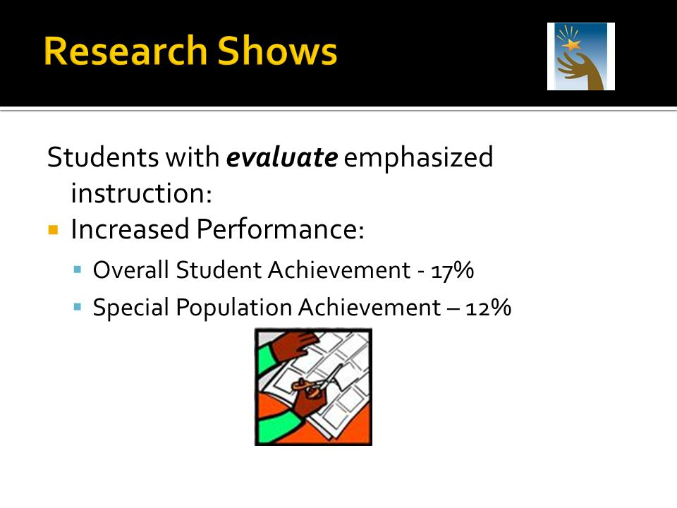 Research Shows Students with evaluate emphasized instruction: