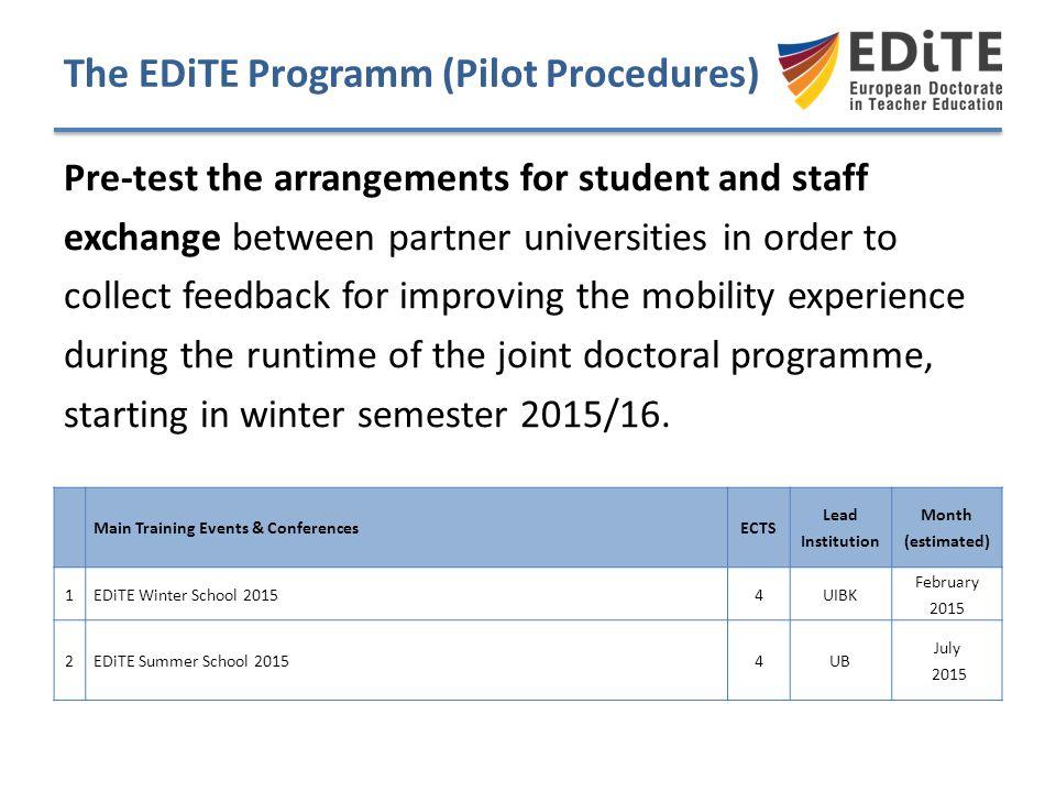 The EDiTE Programm (Pilot Procedures)