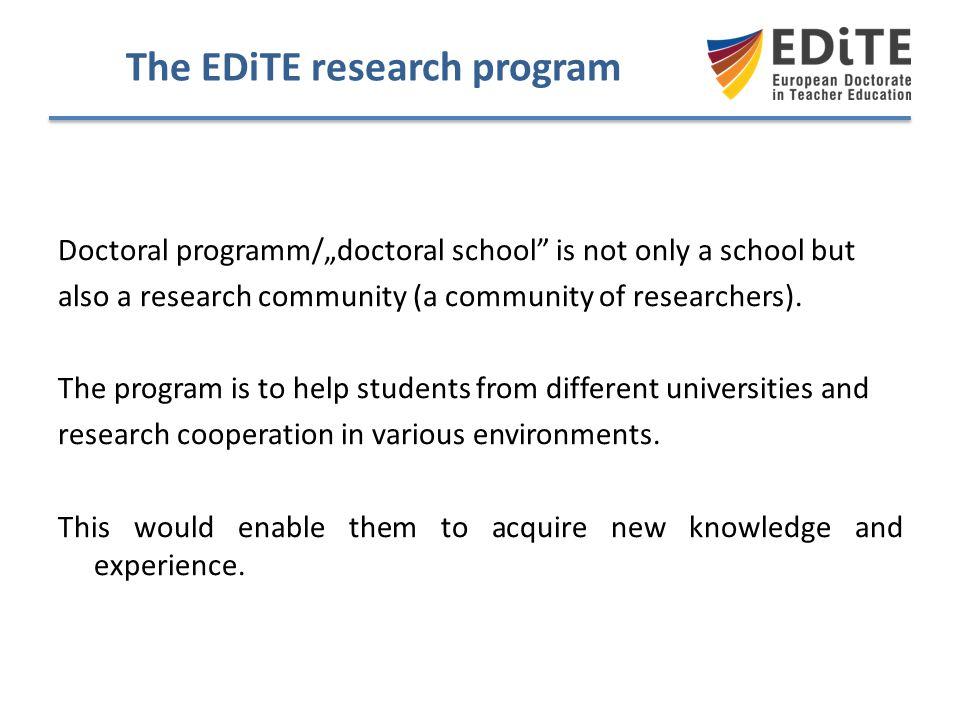 The EDiTE research program