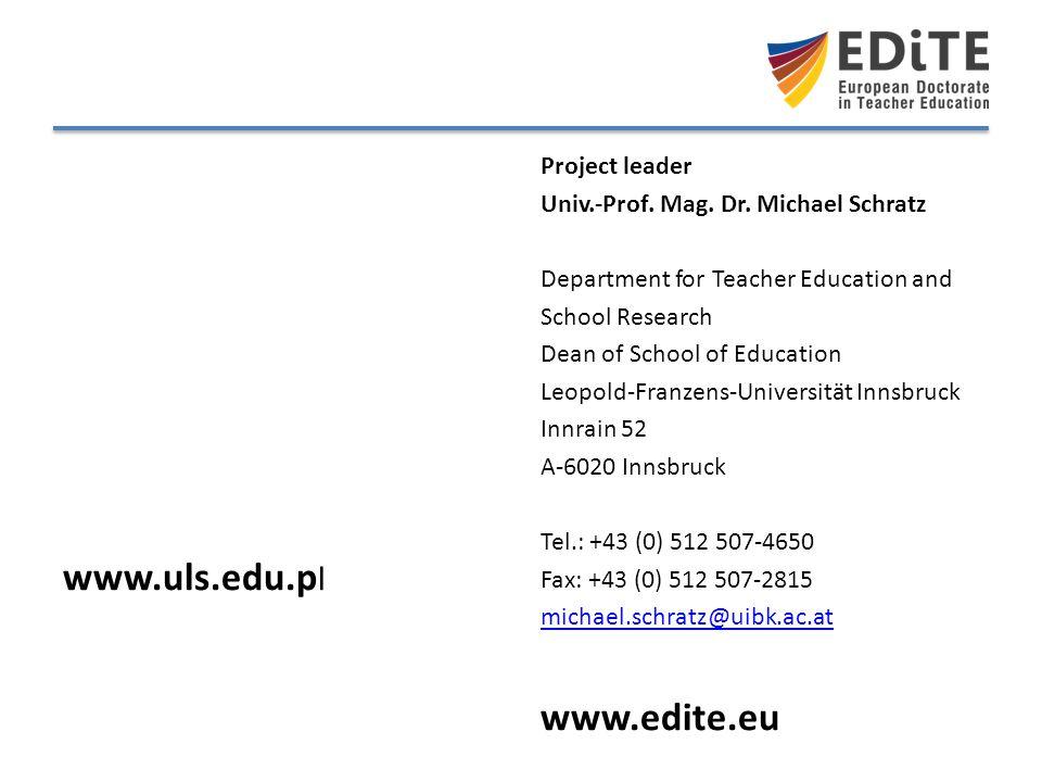 www.uls.edu.pl www.edite.eu Project leader