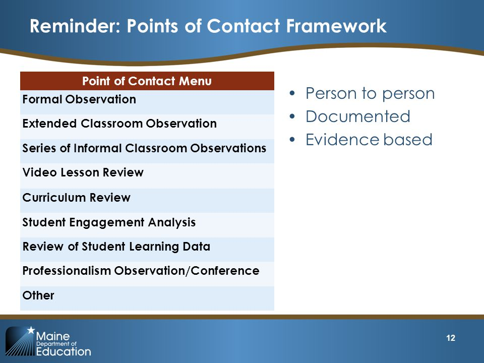 Reminder: Points of Contact Framework
