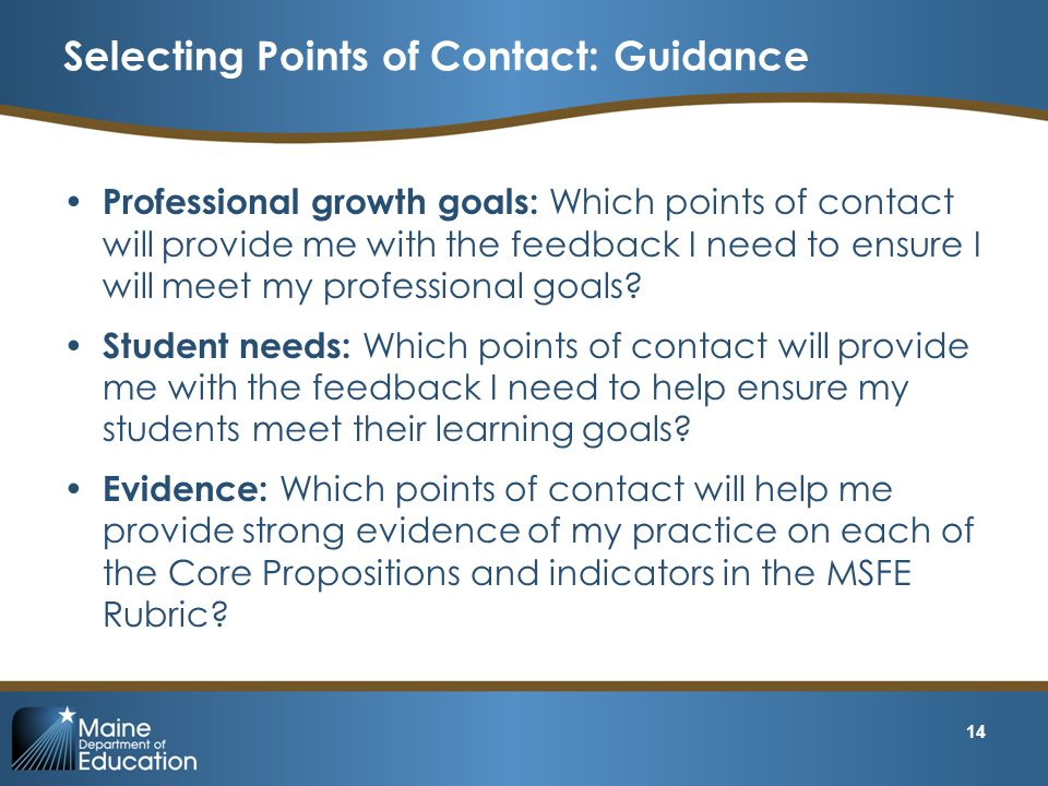 Selecting Points of Contact: Guidance