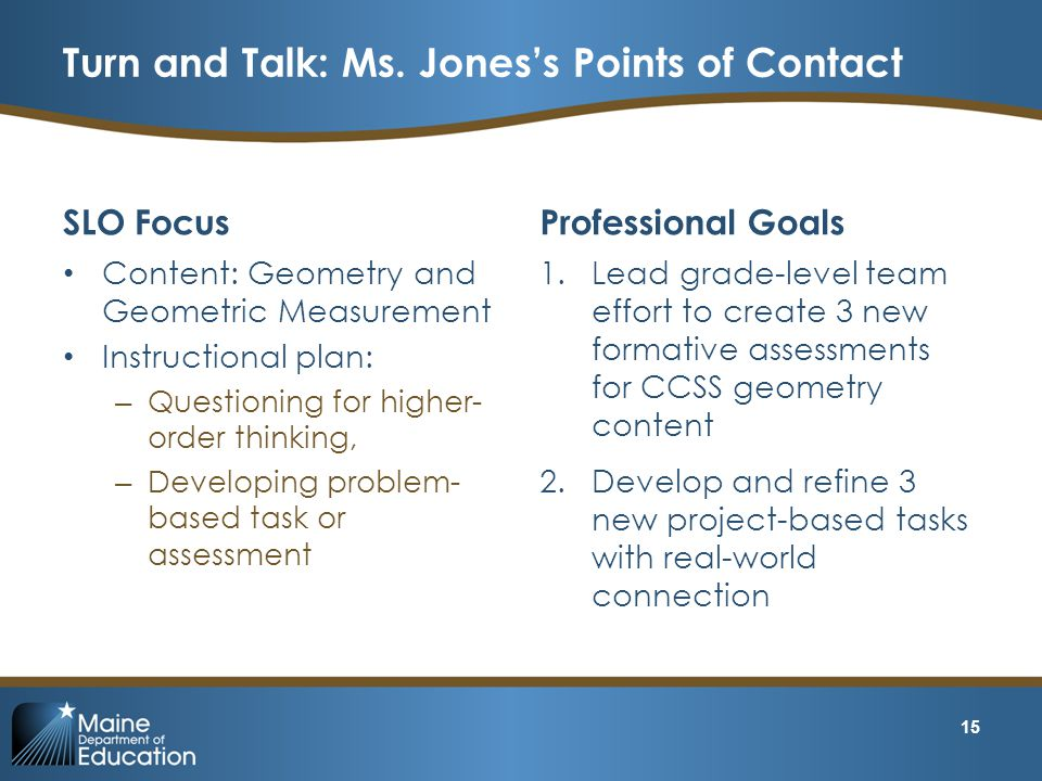 Turn and Talk: Ms. Jones's Points of Contact