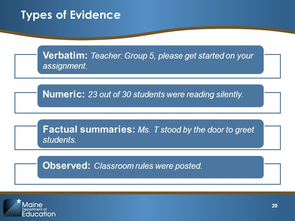 Types of Evidence Verbatim: Teacher: Group 5, please get started on your assignment. Numeric: 23 out of 30 students were reading silently.