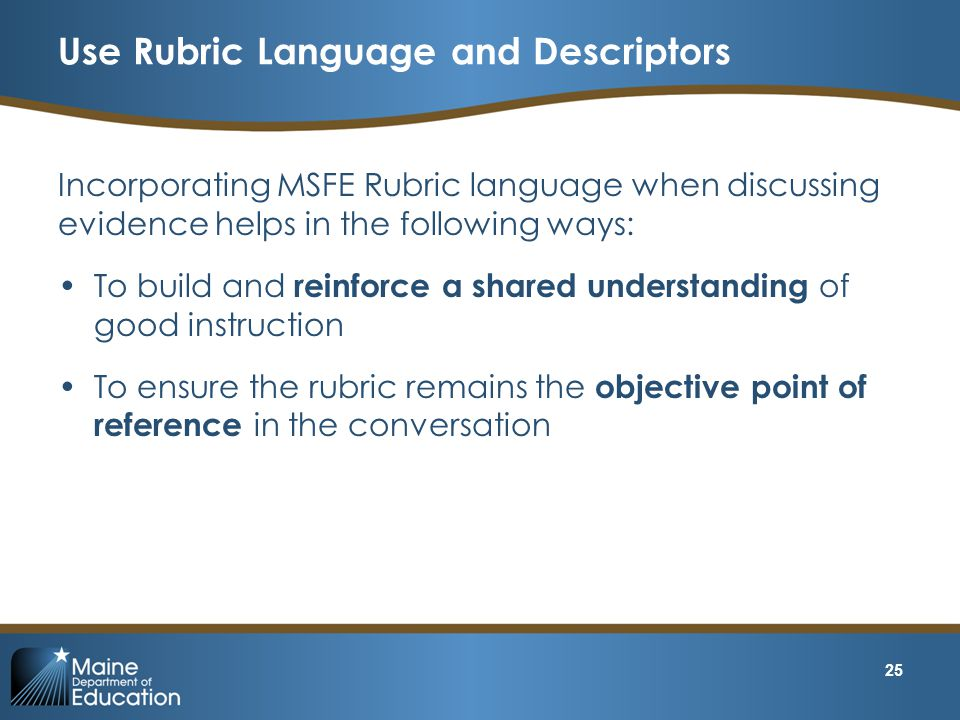 Use Rubric Language and Descriptors