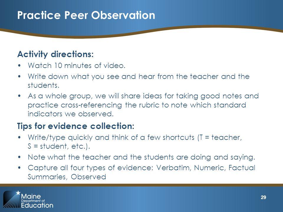 Practice Peer Observation