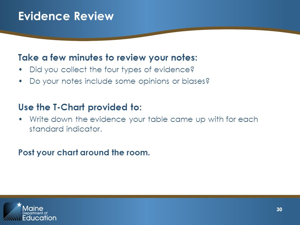 Evidence Review Take a few minutes to review your notes: