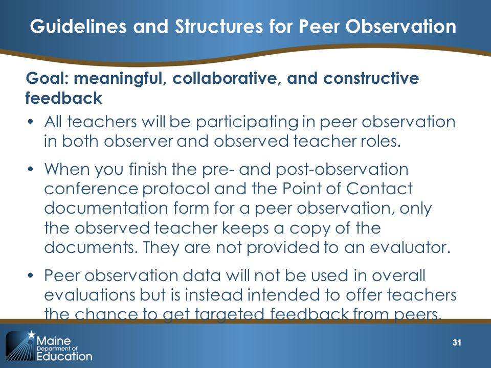 Guidelines and Structures for Peer Observation