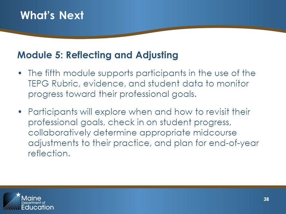 What's Next Module 5: Reflecting and Adjusting