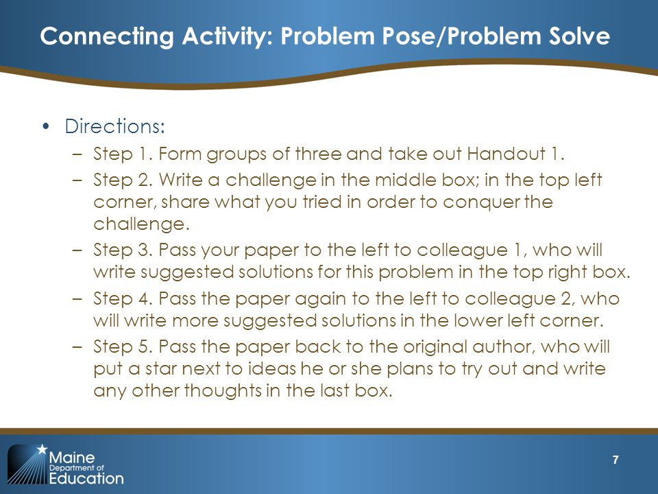 Connecting Activity: Problem Pose/Problem Solve